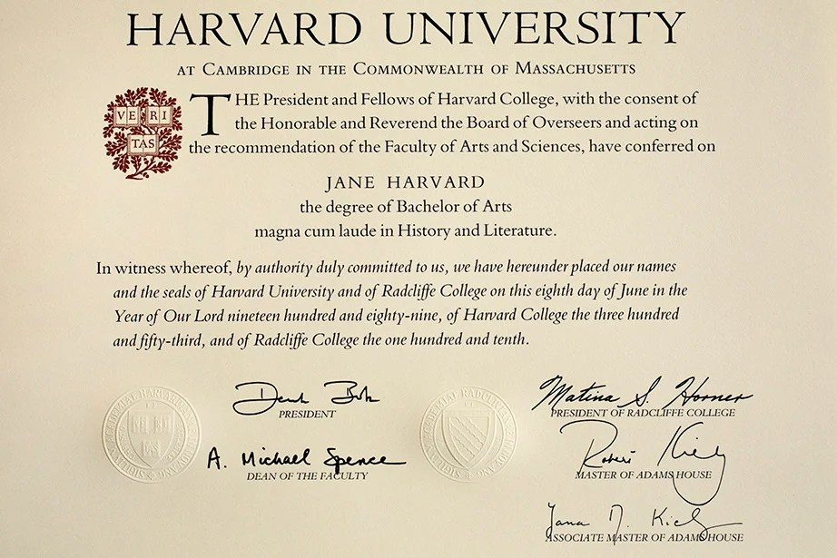 A Sample Harvard Bachelors Degree Diploma From 1989 It Was In 1963 That Graduates Of