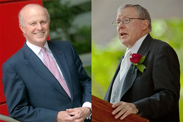 Harvard Corporation member Paul J. Finnegan (left) will become treasurer of the University on July 1. He will succeed James F. Rothenberg, the treasurer since 2004, who will stay on as a member of the Corporation.