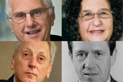 2014 marks the 25th anniversary of the Centennial Medal, first awarded in 1989 on the occasion of the 100th anniversary of the founding of Harvard's Graduate School of Arts and Sciences. This year, the medal is awarded to Bruce Alberts '60, Ph.D. '66 (clockwise from left), Judith Lasker, Ph.D. '76, Leo Marx '41, Ph.D. '50, and Keith Christiansen, Ph.D. '77.