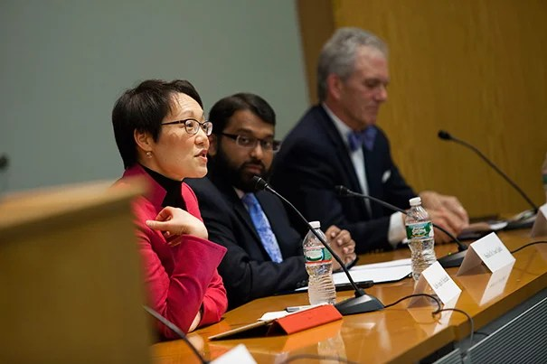 Rabbi Angela W. Buchdahl (from left), Sheik Yasir Qadhi, and the Rev. J. Brent Walker gathered for a discussion on the role of religion in public life. Harvard's Henry Louis Gates Jr. (not pictured) moderated the event.