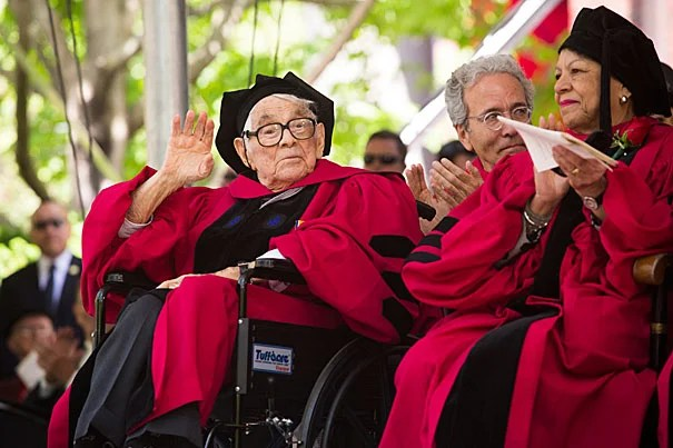 Seymour Slive (left) was awarded an honorary degree during Harvard's 363rd Commencement in May. Slive passed away in June. Among his many roles at Harvard, Slive was a former director of the Fogg Art Museum.