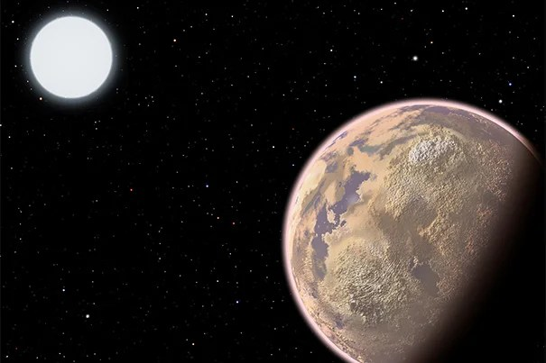 In this artist's conception, the atmosphere of an Earth-like planet displays a brownish haze — the result of widespread pollution. New research shows that the upcoming James Webb Space Telescope may have the potential to detect certain pollutants, specifically chlorofluorocarbons, in the atmospheres of Earth-size planets orbiting white dwarf stars.