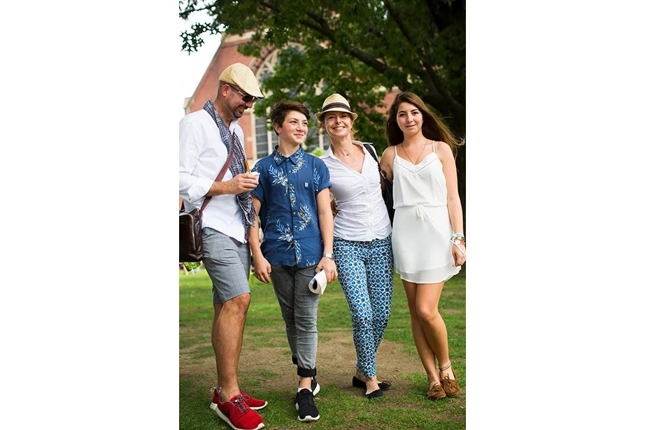 """""""Anton is the reason we're so stylish. He's the most annoying person to go into the store with, because I have to have his approval on everything!"""" said Christian Wanner of his 14-year-old son, here with Wanner's wife, Maud, and daughter Audrey, 17, who was visiting Harvard as a prospective applicant."""