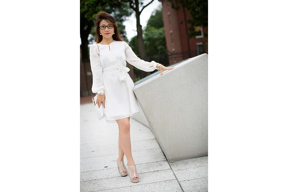 """""""It's my first day visiting Boston,"""" said Joanna Pang, a visitor to Harvard Business School via Shanghai. """"I always like to match but I like to be comfortable."""""""