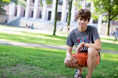 """Matthew DeShaw '18 comes to Harvard by way of New Jersey. """"I felt tiny in front of the imposing Widener Library, like a cobblestone within the labyrinth of Harvard's history,"""" he said, when recounting his first impressions of Harvard."""