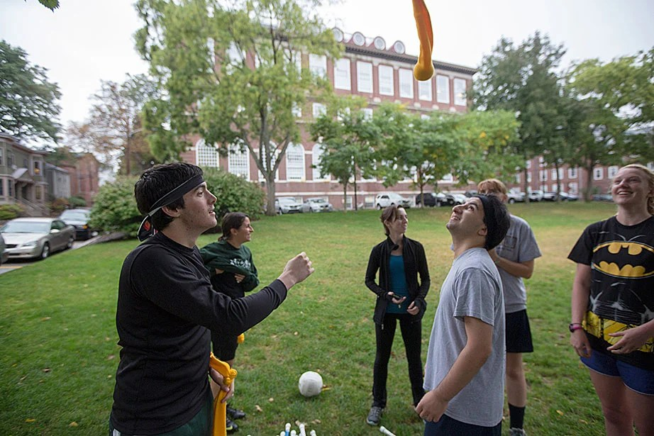 Zac Bathen '17 (from left), Julia Carvalho '14, Rachel Gosselin '18, Aram Zadeh '16, and Meg Knister '17 during Quidditch practice.
