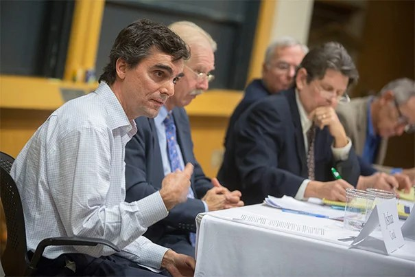 During a Harvard Business School panel, Jay O. Light Professor of Business Administration Joshua Coval (far left) said the evidence is pretty clear that divestment of stock exerts little, if any, economic pressure on a company to change its behavior. The panel also included Chris Davis (from left), Bob Massie, Timothy Smith, and Robert Zevin.