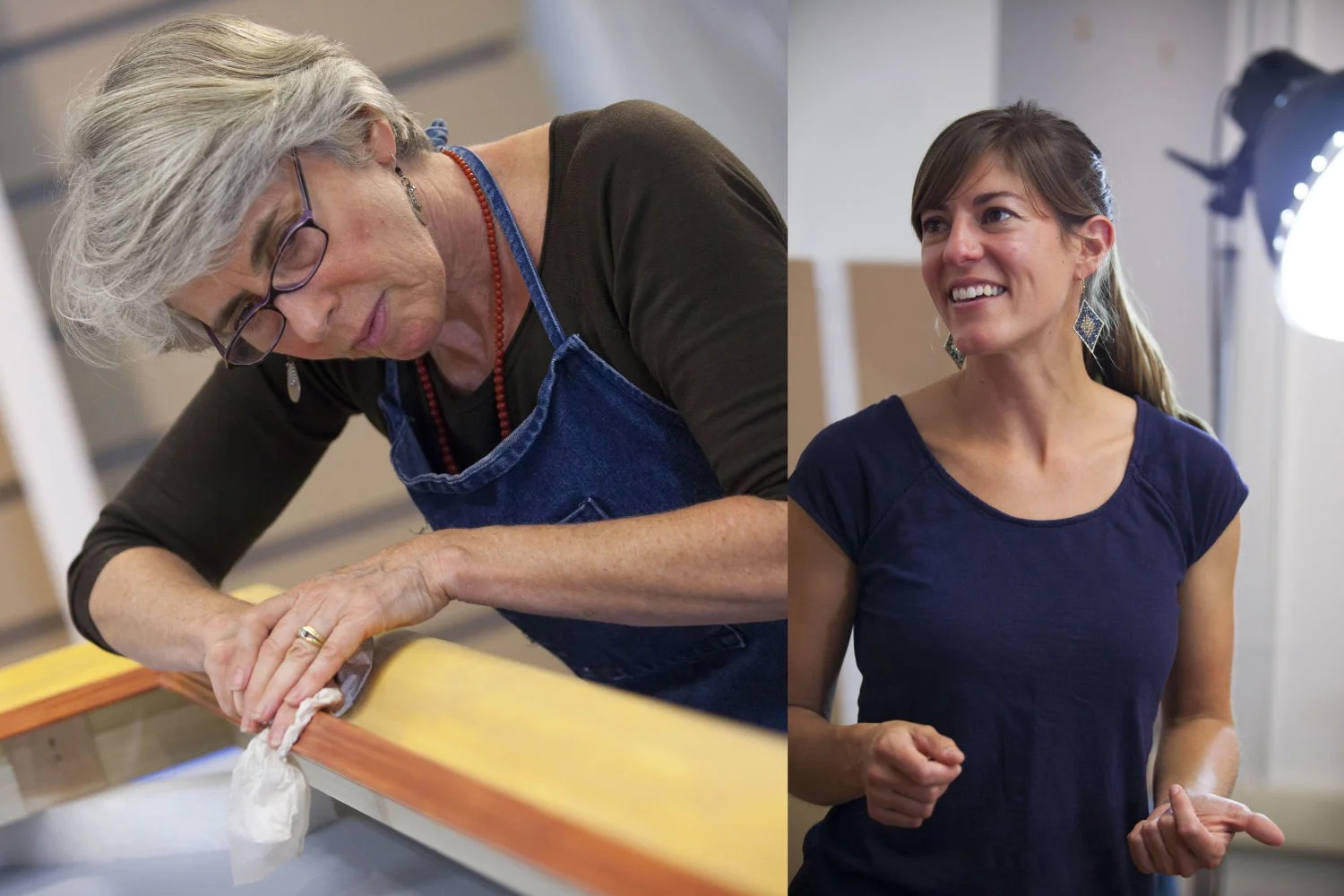 """Frame conservator Sue Jackson (left) works with her daughter Allison Jackson, also a frame conservator, gilding a recreated frame for the 17th-century Italian painting by Paolo Finoglia called """"Joseph and Potiphar's Wife."""" Stephanie Mitchell/Harvard Staff Photographer"""