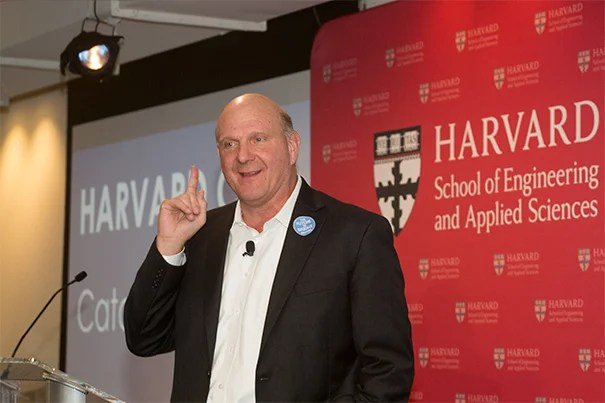 "Steve Ballmer '77 (photo 1), together with President Drew Faust (photo 2), and SEAS Dean Cherry Murray, announced that the University will increase its computer science faculty by half. The increase is the result of financial backing by Ballmer. ""In my opinion, leadership in computer science is fundamental to Harvard remaining the leading institution in education,"" Ballmer said during a press conference today. Ballmer attended David Malan's CS50 class at Sanders Theatre on Wednesday (photo 3), where he talked with students, later taking selfies from the stage."
