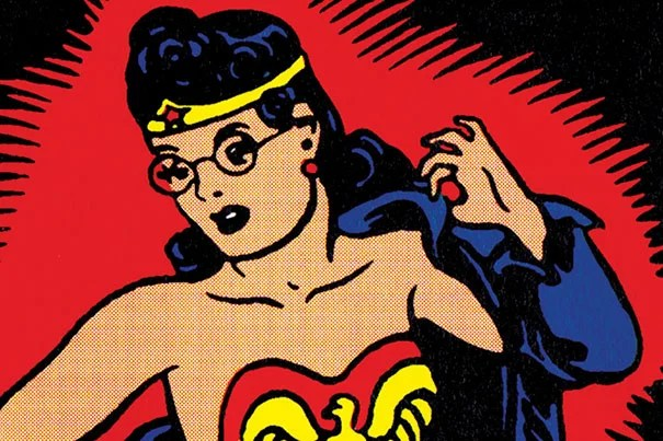 Jill Lepore's latest book peels back the curtain on the history of the most famous female superhero Wonder Woman, created in 1941 by Harvard graduate William Moulton Marston. A section of the cover (photo 1) shown during Lepore's talk at Radcliffe (photo 2).