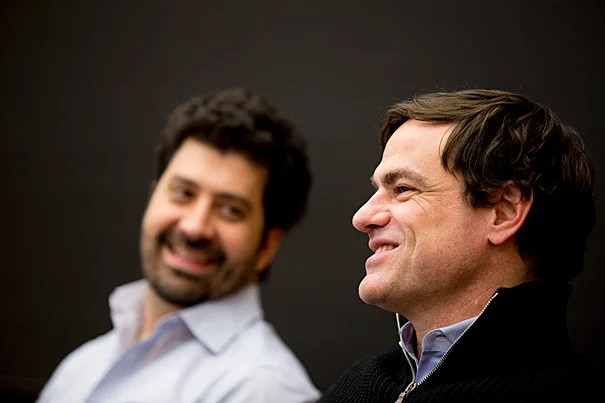 Advertising bigwigs like Marcel Pereira Marcondes (left, photo 1), the marketing vice president for Anheuser-Busch InBev, and Glenn Brown of Twitter Amplify, convened at Harvard Law School this week for a panel discussion on sports and marketing with Marcelo de Campos Pinto (left, photo 2) of TV Globo and HLS professor Charles Nesson.