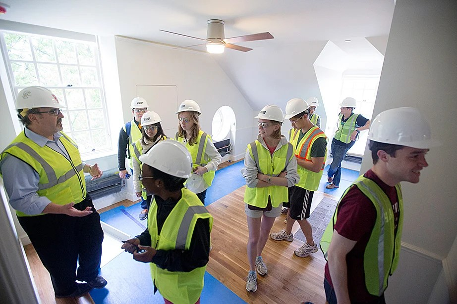 During construction inside McKinlock Hall, Steve Needham, senior director of project management, gave a walk-through of Leverett House to undergraduates. Kris Snibbe/Harvard Staff Photographer