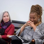 "The death of two unarmed black men by white officers in Missouri and New York raised questions in every corner of  Harvard University. A shift from protests to calls for discussion prompted events across campus. A Harvard Law School symposium, ""Law School or Justice School: Connecting the Dots Between Harvard and Ferguson,"" was held in February. Dean Martha Minow (left, photo 1) and Kimberlé Crenshaw, Distinguished Professor of Law UCLA, addressed a capacity crowd at the event (photo 2). A fall panel at Harvard Kennedy School, convened by Professor Charles Ogletree (left, photo 3), reflected on the broad social, legal, and political issues raised by the protests in Ferguson, Mo."