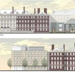 """The most visible change in the plan for the Winthrop House renewal is the construction of a contemporary addition to Gore Hall, dubbed """"Winthrop East."""" The Memorial Drive elevation is pictured in the top image and the Mill Street elevation in the bottom image (rendering 1). The proposed site plan for Winthrop House (rendering 2) includes new House entrances."""