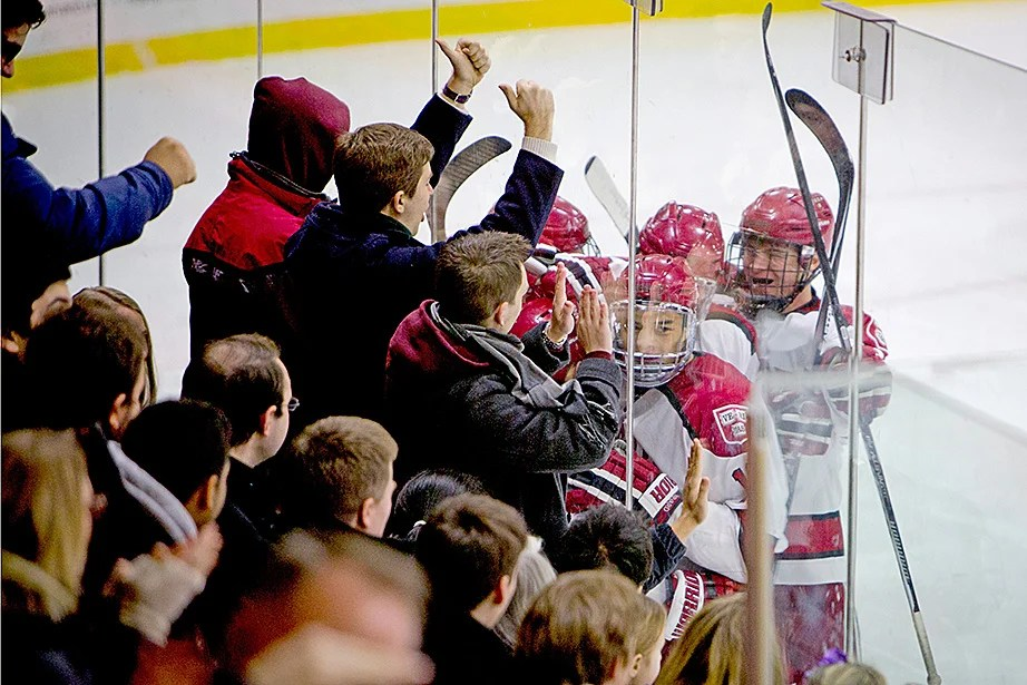 Fans and players celebrate Harvard's second goal of the night. Rose Lincoln/Harvard Staff Photographer