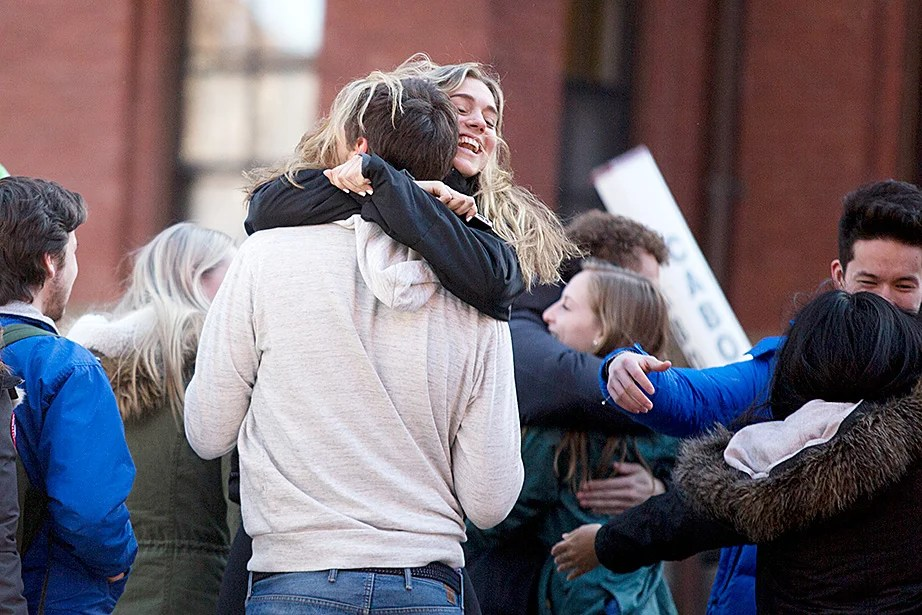 Freshmen rejoice after receiving their assignments on Housing Day. Rose Lincoln/Harvard Staff Photographer