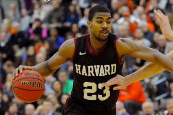 Harvard beat Brown, 72-62. Harvard started five seniors on Senior Night, going with the lineup of Alex Nesbitt, Wesley Saunders (pictured), Steve Moundou-Missi, Jonah Travis, and Kenyatta Smith.