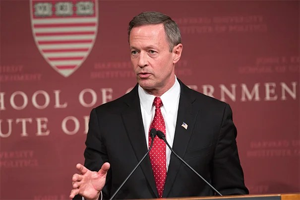 """""""The economy isn't money, the economy is people. It is the work, the imagination, the grit, the desire, the skill, the love of family, the creative capacity of every person that actually drives our economy and makes our country stronger,"""" former Maryland Gov. Martin O'Malley told a Harvard Kennedy School audience on April 16."""