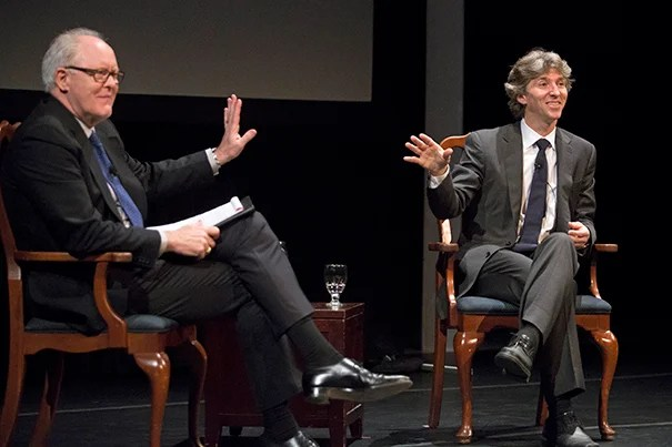 Damian Woetzel, winner of the Harvard Arts Medal, was interviewed by actor John Lithgow as part of the ceremony at Farkas Hall.