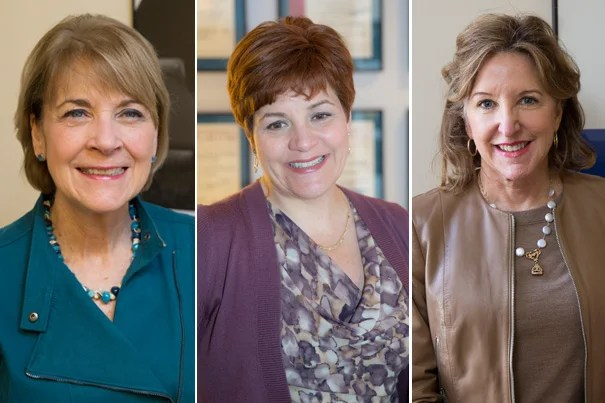 Former Massachusetts Attorney General Martha Coakley (from left), former speaker of the New York City Council Christine Quinn, and former U.S. senator from North Carolina Kay Hagan are Spring 2015 Fellows at Harvard Kennedy School's Institute of Politics.