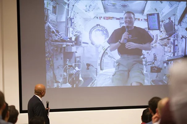 "Terry Virts, commander of the International Space Station and a 2011 alumnus of Harvard Business School's General Management Program, chatted live from orbit about his experiences. ""To be honest, that was the best commander training I had,"" he said of the HBS program."