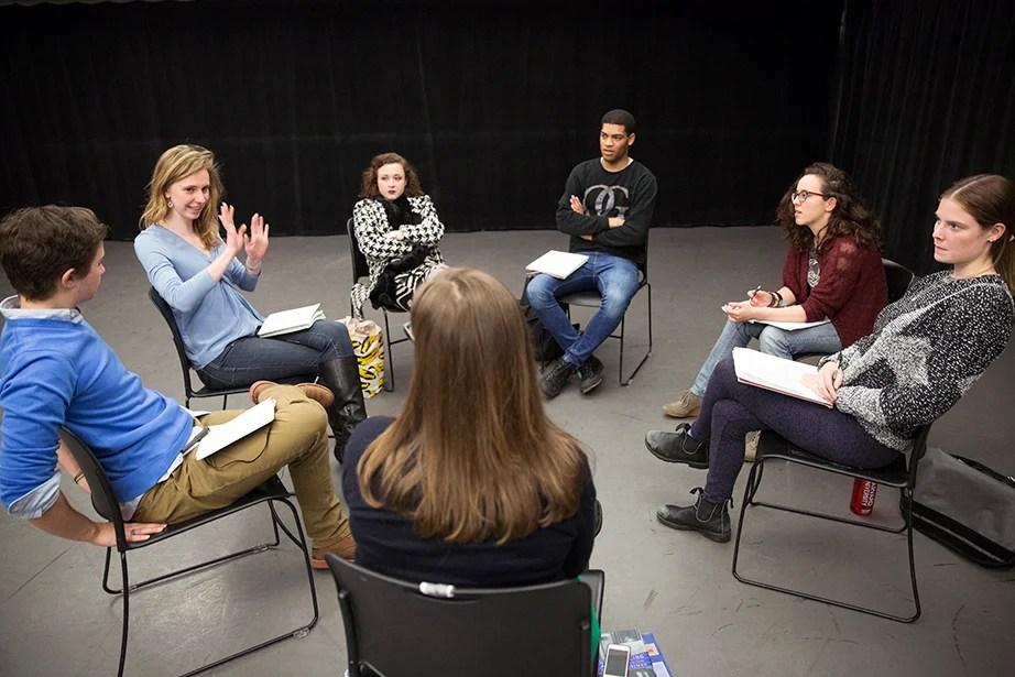 Teaching fellow Julia Bumke (second from left) speaks to classmates during Dramatic Arts 131 at the Loeb Drama Center. Jon Chase/Harvard Staff Photographer