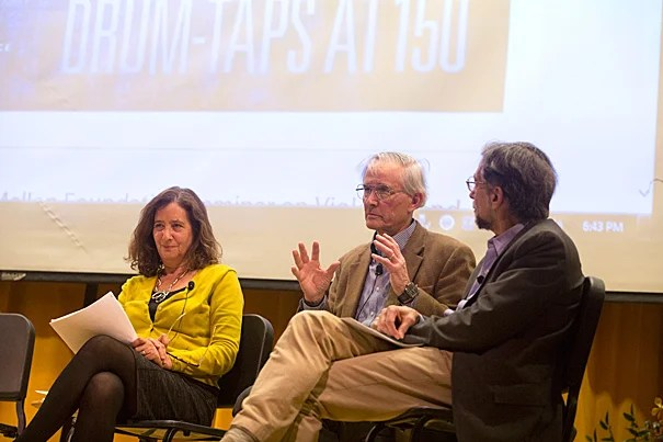 "Harvard's Lawrence Buell (center) called ""Drum-Taps"" Whitman's ""first attempt to cut lose from 'Leaves of Grass' and do something else."" The Humanities Center panel also featured Powell M. Cabot Professor of American Literature Elisa New (left) and Fordham University English Professor Lawrence Kramer (right)."