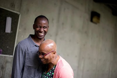 """I spent five years at Roxbury Community College. It should be a two-year program,"" said Afam Nduaguba, pictured here with Chiso Okafor, Nduaguba's mentor and the interim dean of professional studies and career services at RCC. Nduaguba eventually earned a bachelor's from UMass Boston before applying, and being accepted, to Harvard Medical School."