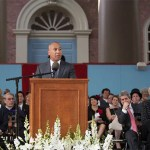 "Former Massachusetts Gov. Deval Patrick (photo 1) called on graduates to follow talk with action on the most urgent problems of the day. The afternoon also featured a speech by President Drew Faust (photo 2), who reminded alumni (photo 3) that Harvard's work is ""about that ongoing commitment, not to a single individual or even one generation or one era, but to a larger world and to the service of the age that is waiting before it."""