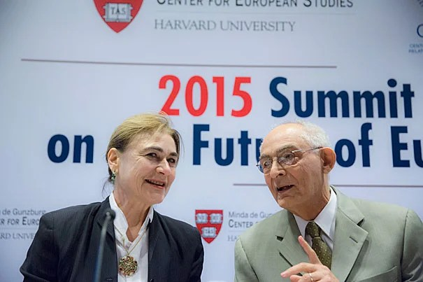 "The photo of young Aylan Kurdi ""was a wake-up call for everybody; it suddenly galvanized a sort of moral outrage which had been lurking for some time,"" said Harvard's Jacqueline Bhabha (left) during a two-day summit on the future of Europe. Also pictured is Patrice Higonnet, Robert Walton Goelet Professor of French History Emeritus."