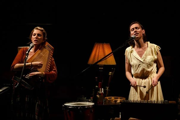 "Brittain Ashford (left) and Gelsey Bell perform in Dave Malloy's supernatural off-Broadway musical ""Ghost Quartet."" This  song cycle about love, death, and whiskey runs Sept. 9-12 at Oberon."