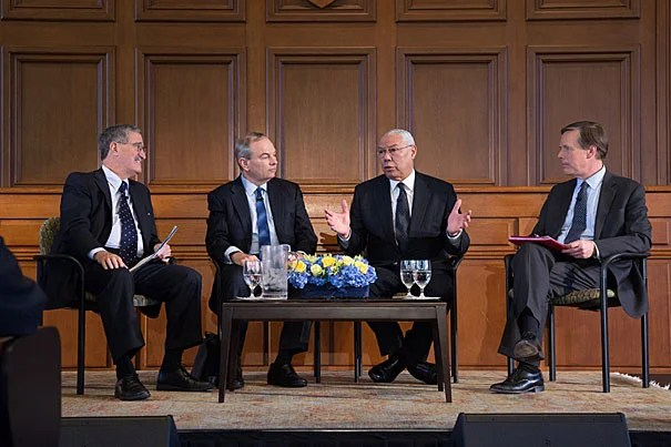 Former Secretary of State Colin Powell took part in the American Secretaries of State Program in a chat with Harvard's Robert H. Mnookin (from left), James Sebenius, and Nicholas Burns.