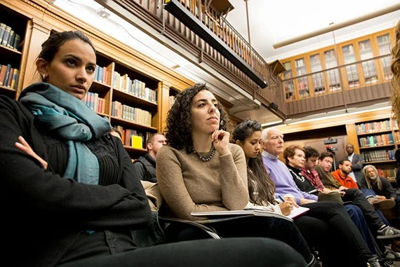 Audience members listen to Harvard University professors: Walter Johnson, Elizabeth Hinton, Brandon Terry and Evelyn Brooks Higginbotham,  who led a discussion titled: #Black Lives matter in Historical Perspective held in Robinson Hall Lower Library Rose Lincoln/Harvard Staff Photographer