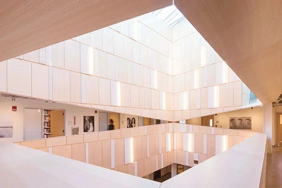 """credit to """"Kennedy & Violich Architecture, Ltd: Tozzer Anthropology Building received LEED Gold certification for sustainability features including an active chilled beam system that uses water to both heat and cool the building and a new central skylight that prioritizes natural light]"""