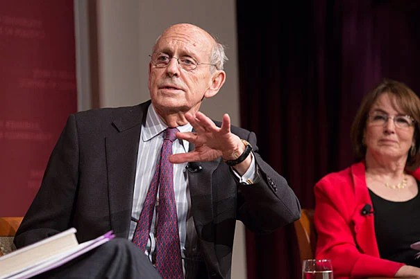 """""""I've never heard one judge in that room say something really mean, even in a joking way, about another. It doesn't happen. It's professional,"""" Associate Supreme Court Justice Stephen Breyer told students during a talk at Harvard Kennedy School."""