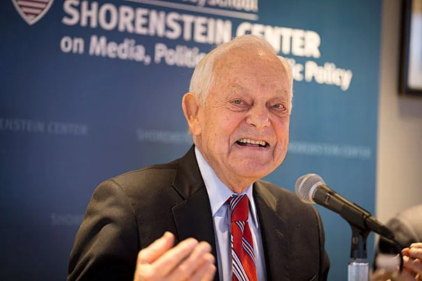 """""""The great sound you heard was a great sigh of relief from the Republican establishment when it became clear that Marco Rubio was going to run third in Iowa,"""" veteran newsman Bob Schieffer told his Kennedy School audience. """"As of right now, I think you still have to say Trump is the favorite to get the Republican nomination."""""""