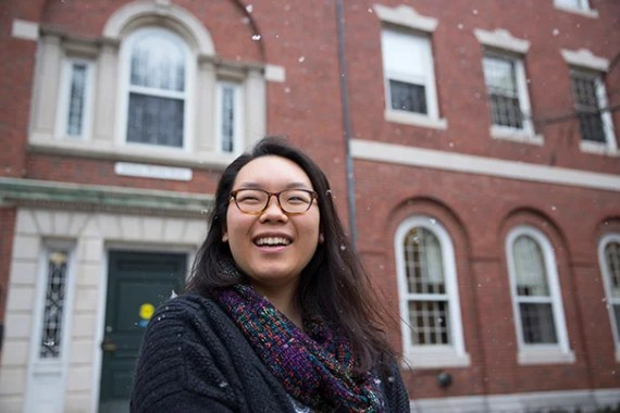 Jing Qiu '16 recently served as president of the Phillips Brooks House Association, she is seen at Phillips Brooks House. Kris Snibbe/Harvard Staff Photographer.