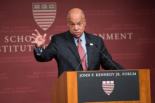 """""""It's crucial in the current phase we're in, we build bridges to the Muslim communities in this country and not vilify them and drive them into the margins of our society,"""" said U.S. Secretary of Homeland Security Jeh C. Johnson during an address Monday evening at the Harvard Kennedy School."""