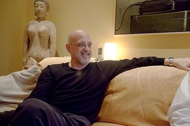 Dan Gilbert, Professor of Psychology is seen in his Cambridge home. Kris Snibbe/Harvard Staff Photographer