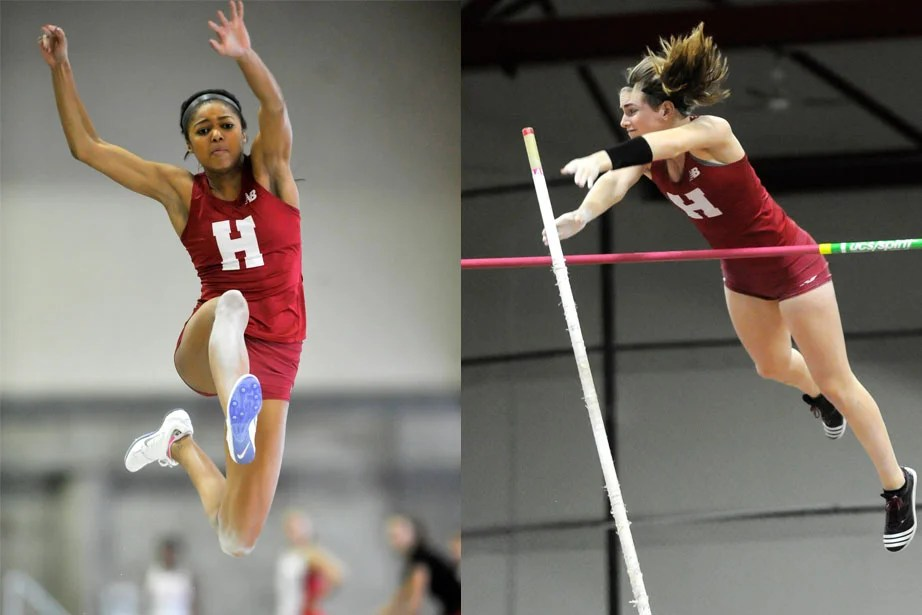 Gabrielle Thomas '19 , left, soars to victory in the long jump. She recorded a collegiate-best mark of 18 feet 9.75 inches (5.73 meters). Nicole Trenchard '19, right, clears the bar in the pole vault. She tied teammate Lexi Schachne '16 for fourth place.