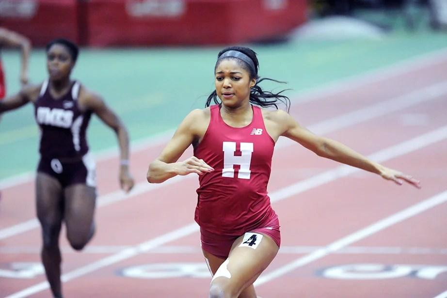 Gabrielle Thomas wins the 60-meter dash with a Harvard and Ivy League record of 7.38 seconds, edging teammate Ngozi Musa '19 (not pictured) by a tenth of a second.