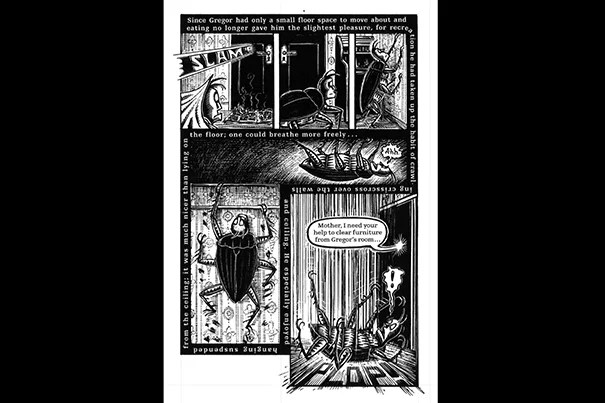 """A page from Peter Kuper's 2003 graphic adaptation of Franz Kafka's """"The Metamorphosis."""" Kuper said Kafka's writing allowed him to """"really demonstrate ways of storytelling that only could be done in comics."""" The text on this page, said Kuper, corresponds with the visuals that follow Gregor Samsa as he climbs the walls in cockroach form."""