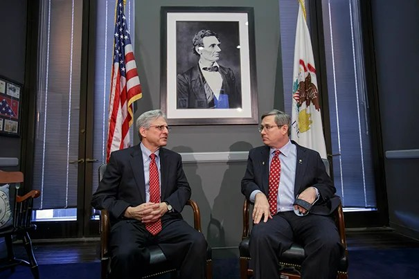 Illinois Sen. Mark Kirk (right) and Judge Merrick Garland, President Barack Obama's choice to replace the late Justice Antonin Scalia on the Supreme Court. The GOP freeze has recently shown signs of thawing, as more than a dozen Senate Republicans have said they would meet with Garland.