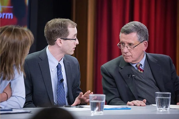 """Panelists Katherine Hempstead (from left), Benjamin Sommers, and Robert Blendon spoke about the positive effects and the limits of the Affordable Care Act at the Harvard T.H. Chan School of Public Health. Blendon noted, """"Insurance alone does not improve the lives of those in the low-income community."""""""