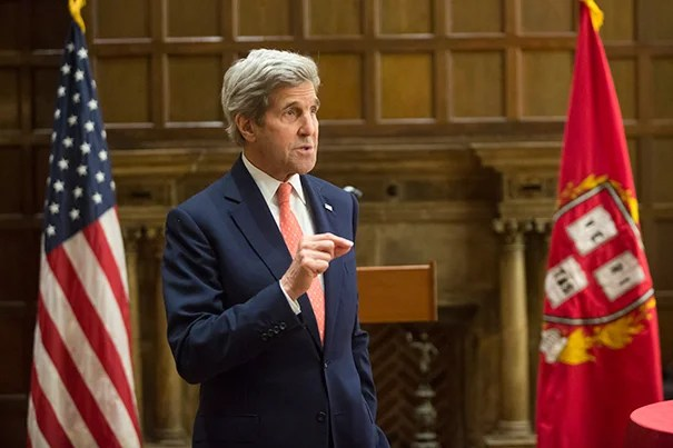 U.S. Secretary of State John Kerry helped launch a joint initiative between the Harvard Global Health Institute and the Harvard University Center for the Environment, an effort focused on the global health impacts of climate change.