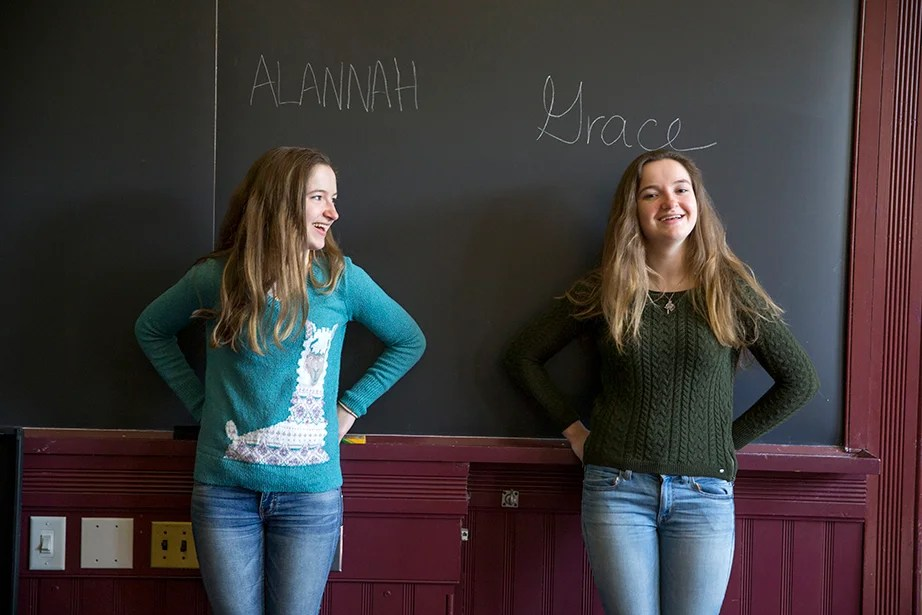 "For concentrations, both O'Brien girls are undecided, but Grace is leaning toward government. ""We participate in different extracurricular activities, hang out with different people, and we don't plan on choosing the same concentration,"" Grace says. ""This allows us to lead separate lives, while staying close."" Rose Lincoln/Harvard Staff Photographer"