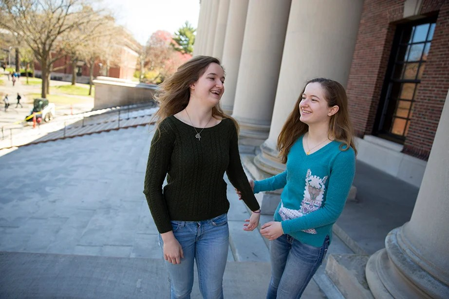 "Grace O'Brien says, ""Obviously my sister and I are not telepathic, but we know each other so well that generally it's easy to tell what the other is thinking."" Rose Lincoln/Harvard Staff Photographer"