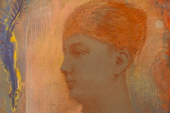 """A drawing, """"Head of a Young Woman,"""" by Odilon Redon, is pictured in detail during the installation. Stephanie Mitchell/Harvard Staff Photographer"""