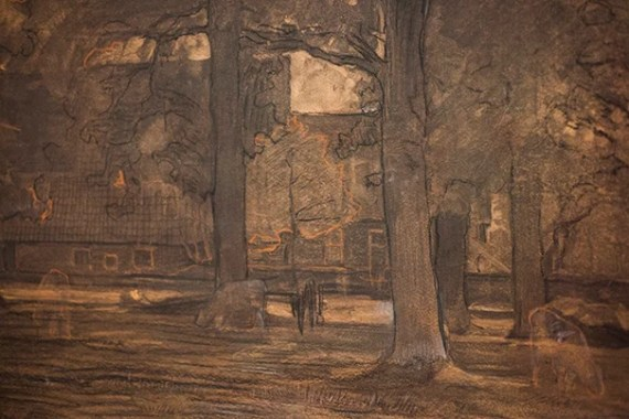 """""""Farmstead"""" previously Landscape (Twente Farm Buildings Surrounded by Trees IV), 1906-7, by Piet Mondrian. Stephanie Mitchell/Harvard Staff Photographer"""
