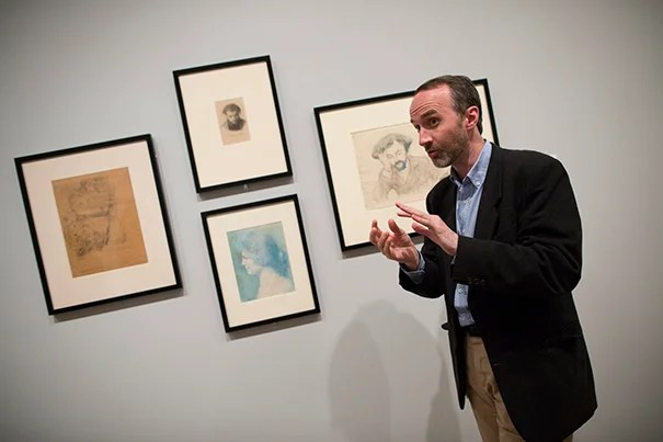 Curator Edouard Kopp helped put together a new exhibition from Harvard Art Museums' collection of symbolist drawings.